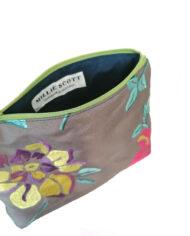 Fuchsia Embroidered Make Up Bag Close up
