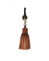 Grainy tan leather tassel keyring key
