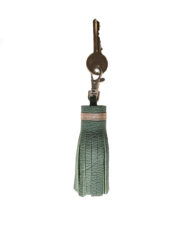 Lichen & soft gold leather tassell keyring with key