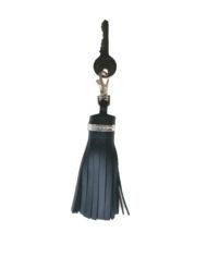 Navy and Moondust leather tassel keyring with key